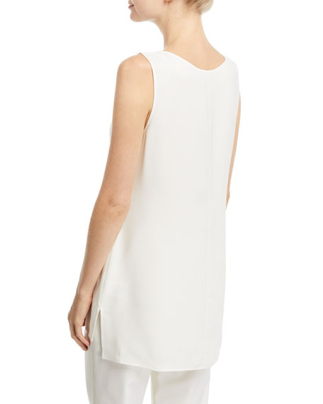 Ruthie Sleeveless High-Low Hem Silk Blouse