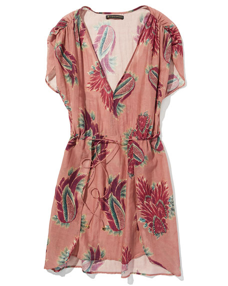 Agata Feather-Print Short Coverup, Pink