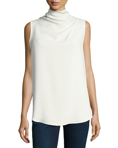 Axlie Elevate Crepe Cowl-Neck Button-Back Top