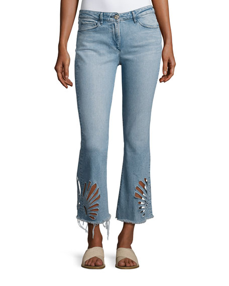 3x1 Freja Floral-Cutout Cropped Bell-Bottom Jeans