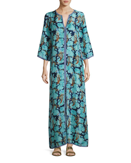 Brenda Split-Neck 3/4-Sleeve Maxi Dress, Blue
