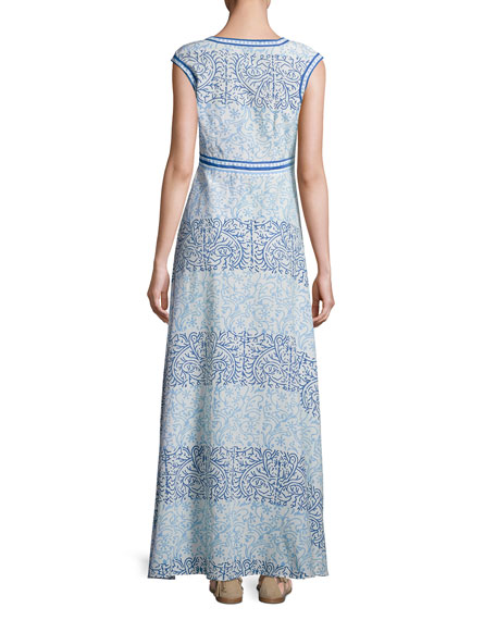 Astrid Cap-Sleeve Maxi Dress, Blue