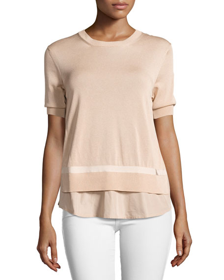 Short-Sleeve Knit Underlay Top
