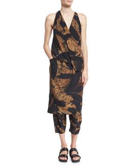 Printed Silk Fixed Wrap Dress, Black/Brown