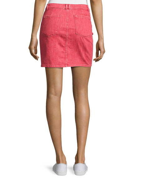 Le Color Denim Pencil Skirt, Crimson