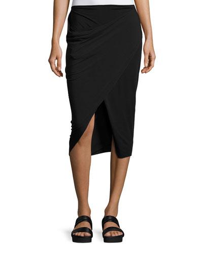 Faux-Wrap Midi Skirt, Black