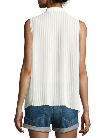 Pleated Sleeveless Tie-Neck Blouse, Off White