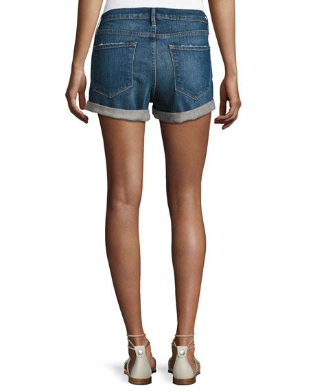 Le Cutoff Cuffed Denim Shorts, Plummer
