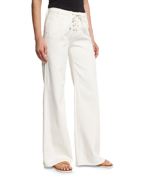 Le Capri Lace-Up Wide-Leg Jeans, Parchment