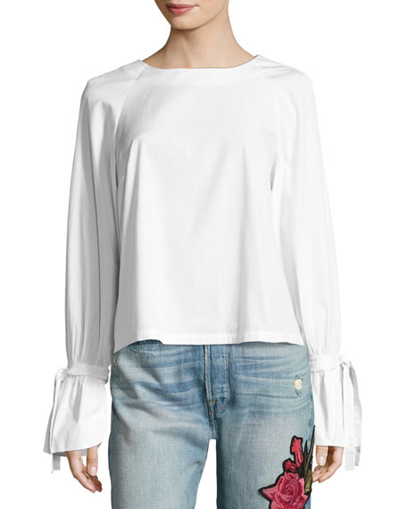Voluminous Tie-Cuff Poplin Blouse, White