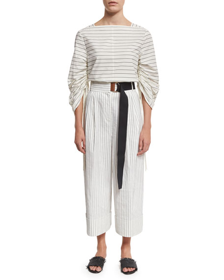 Cecil Striped Culottes with D-Ring Belt, White