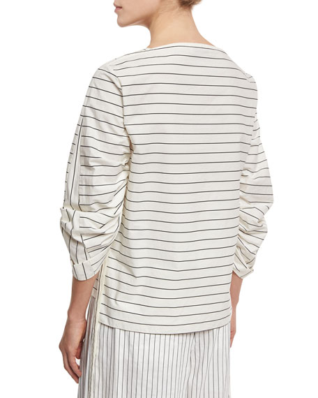 Striped Shirting Boat-Neck Top, White