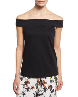 Mercerized Knit Off-the-Shoulder Top, Black