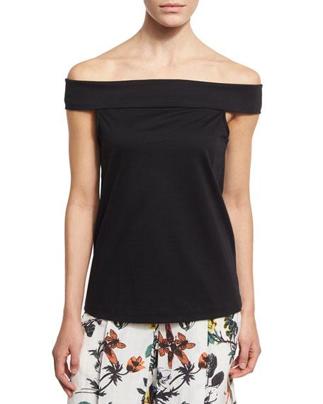 Mercerized Knit Off-the-Shoulder Top, Black