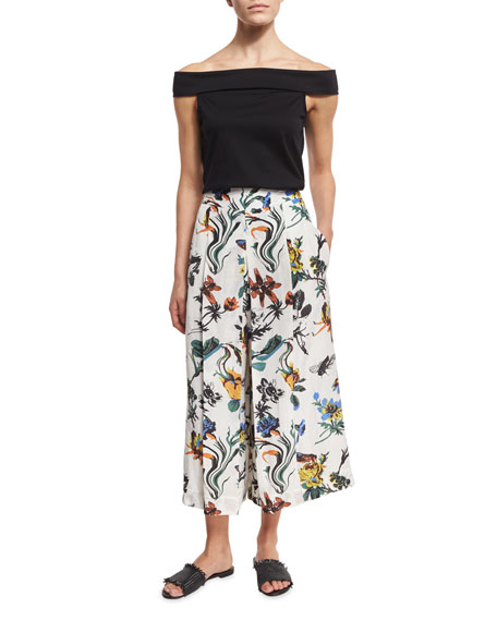 a3c4647a78f55a Tibi Gothic Floral Linen Pleated Culottes