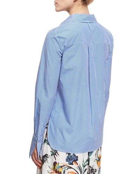 Slim-Fit Gingham Shirt, Blue/White