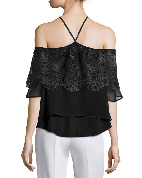 Fleur Tiered Lace Cold-Shoulder Top, Black