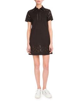 Flying Kenzo Lace & Poplin Dress, Black