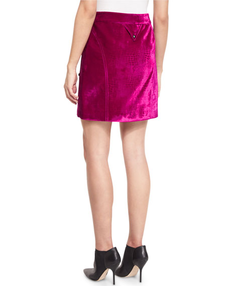 Croc-Embossed High-Waist Mini Skirt, Plum-Purple