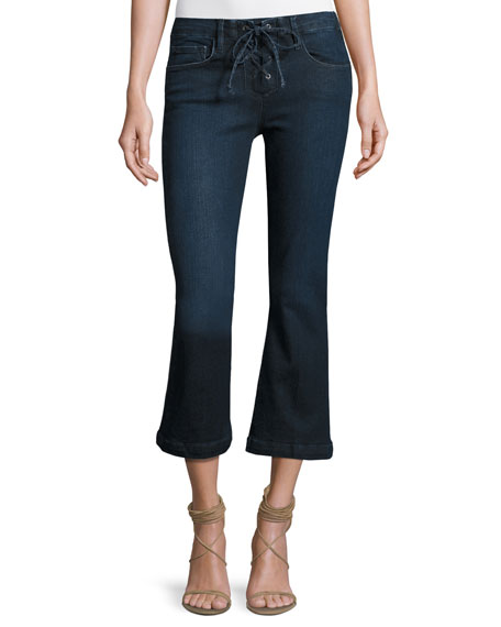 FRAME Le Crop Mini Boot-Cut Lace-Up Jeans, Hayworth