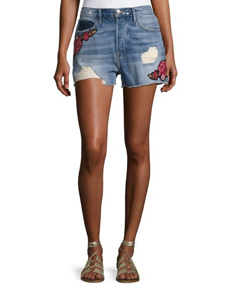 FRAME Le Original Patch Shorts, Rose Petal