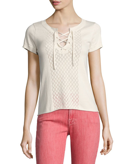 Pointelle Lace-Up Tee, Off White