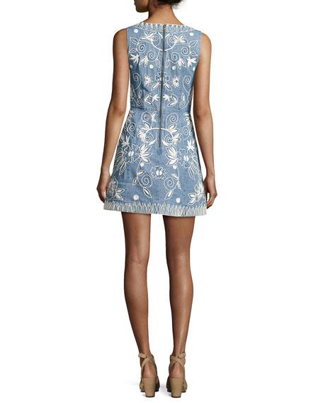 Lindsey Embroidered A-Line Denim Mini Dress, Indigo/White