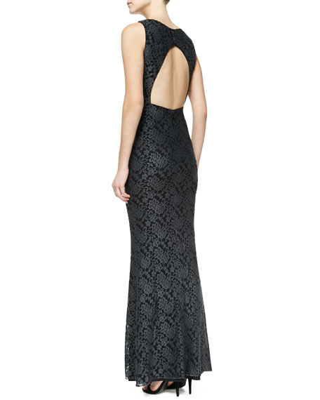 Sachi Open-Back Lace Gown, Gray