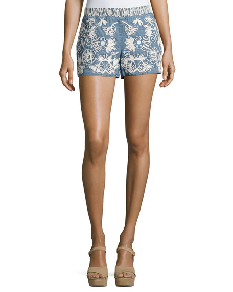 Alice + Olivia Marisa Embroidered Denim Shorts, Indigo/White