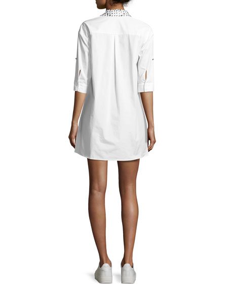 Camron Embellished-Collar Tunic Shirtdress, White