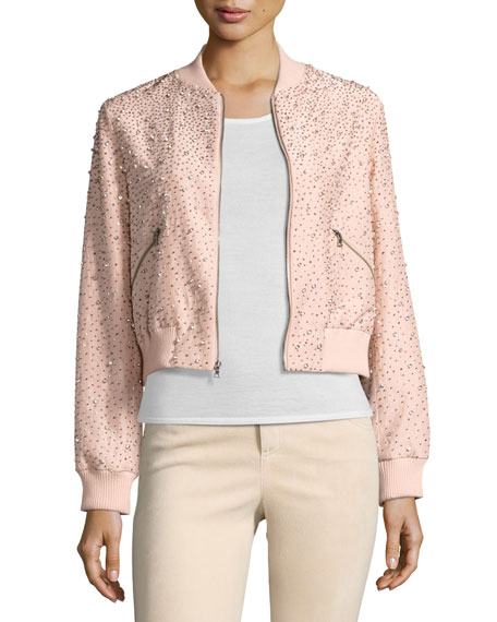 Demia Embellished Silk Cropped Bomber Jacket, Light Pink