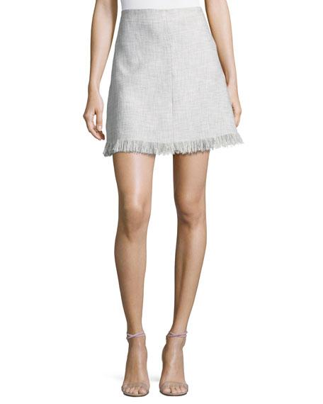 Fringe-Hem A-Line Suiting Skirt, Gray Multicolor