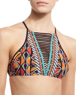 Mozambique Stargazer High-Neck Swim Top, Multicolor