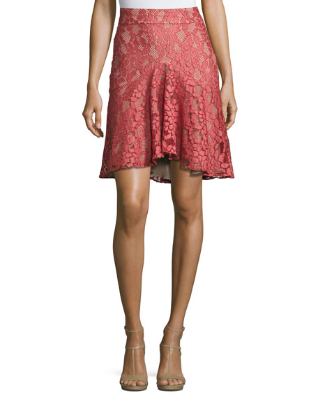 Alexis Braxten Lace Flared Godet Skirt, Pink