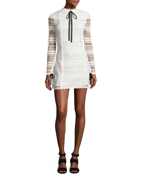 Alexis Braelynn Lace Bow-Neck Mini Dress, White/Black