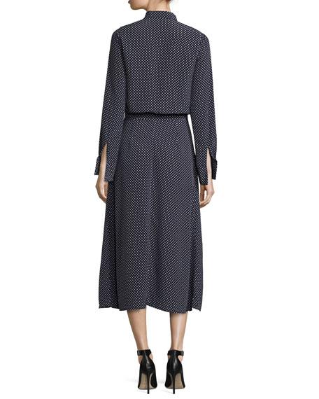 Noelle Polka-Dot Tie-Neck Slit Midi Dress, Navy Blue