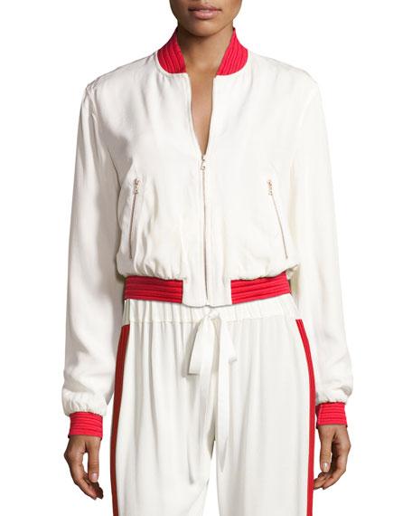 Alexis Trei Athletic-Stripe Bomber Jacket, White