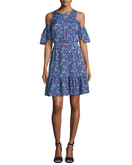 Shiloh Cold-Shoulder Silk Striped Wildflower Dress, Blue