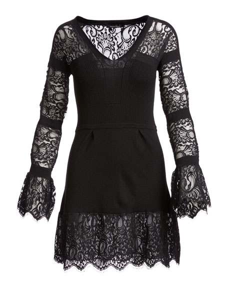 Long-Sleeve Lace-Trim Wool Sweaterdress, Black