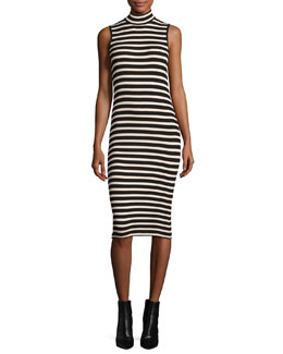 Sleeveless Striped Stretch Jersey Dress, Pink/Black