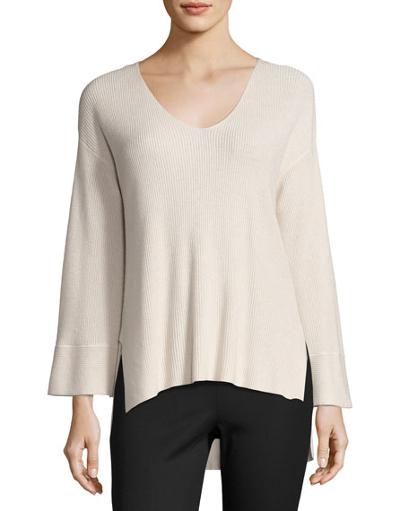 Ribbed V-Neck Pullover Sweater, Blush