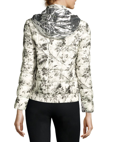Floral Toile Silk Jacket, White