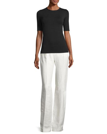 Ferguson Linen Twill Wide-Leg Pants, Off White