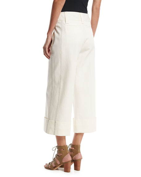 Stretch Twill Cuffed Culottes, White