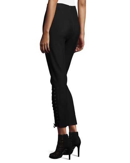 Laced Stretch Ponte Leggings, Black