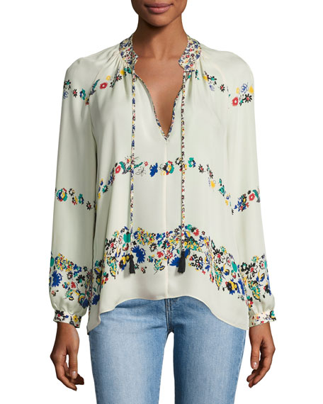 Image 1 of 1: Nehru Long-Sleeve Floral Silk Blouse