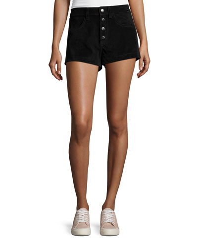 Lou Suede High-Rise Shorts, Black