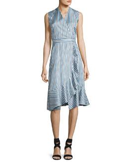 Sleeveless Striped Silk Satin Dress, Multicolor