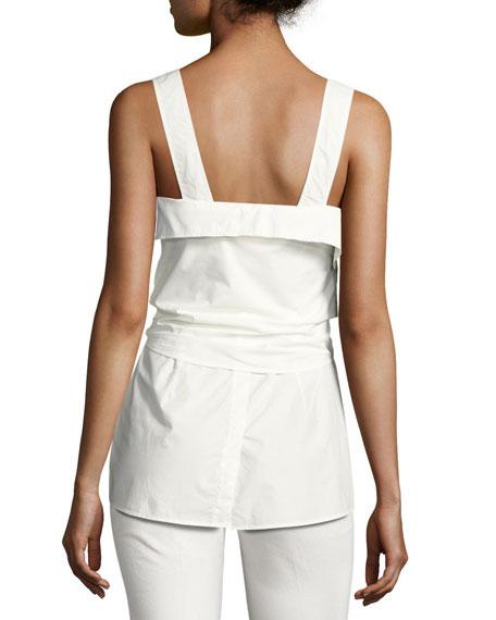 Sleeveless Tie-Front Sweetheart Poplin Top, White