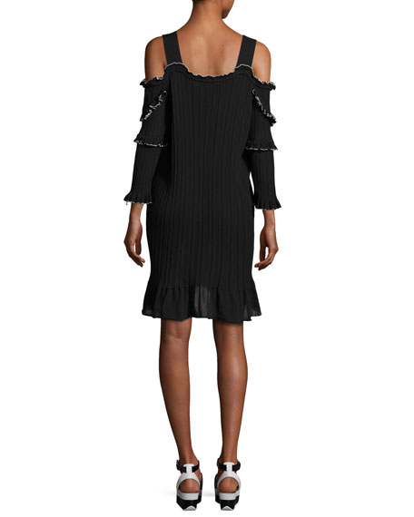 Plissé Cold-Shoulder Mini Dress, Black/White